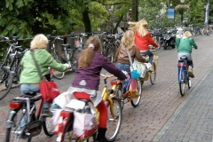 A group of young children ride their bikes along a street in the Netherlands