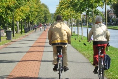 An older couple riding on a tree-lined bicycle street alongside a canal