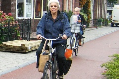 An older lady rides her bike on a smooth, wide cycle path. She has shopping in her panniers and a bag hanging from her handlebars. A young mother with baby cycle behind.