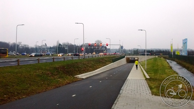 Cycle walk underpass major junction De Bilt Utrecht