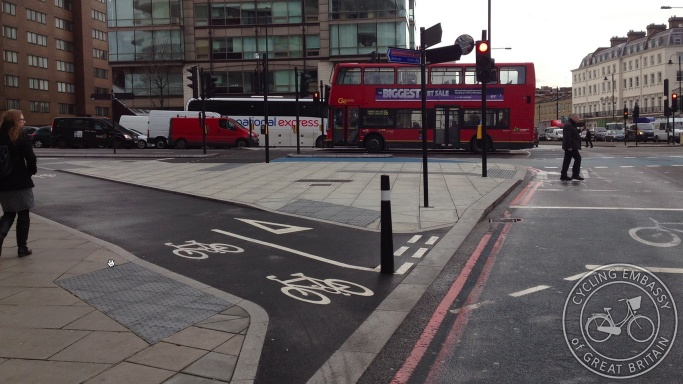 Cycle bypass Vauxhall Bridge Millbank