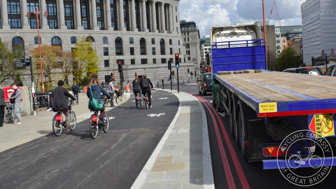 Bi-directional cycleway Blackfriars Bridge London