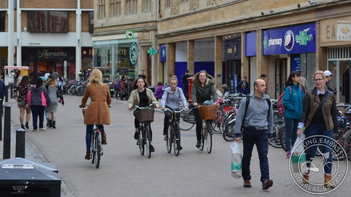 Sidney Street Cambridge pedestrianised street cycling