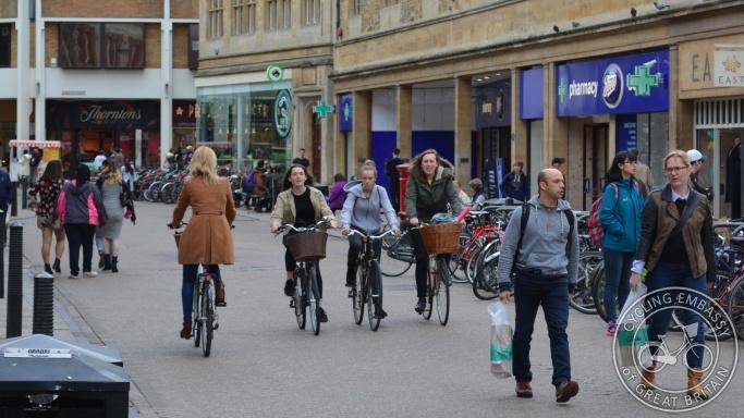Sidney Street Cambridge pedestrianised street cycling