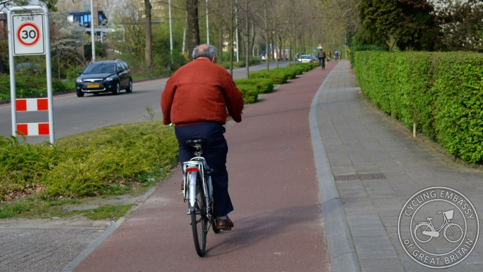 Cycleway on 30km/h road Wageningen NL