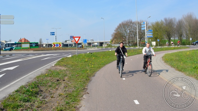 Turbo roundabout cycle path Gouda