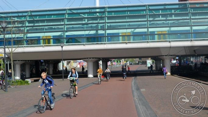 Houten main station with cycle path and pedestrianised area