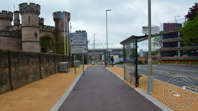 Bus stop bypass bi-directional cycleway Leicester