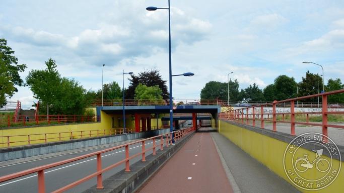 Bi-directional cycleway pair underpass Assen NL