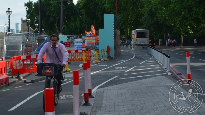 Cycle diversion during roadworks CS3 Superhighway London