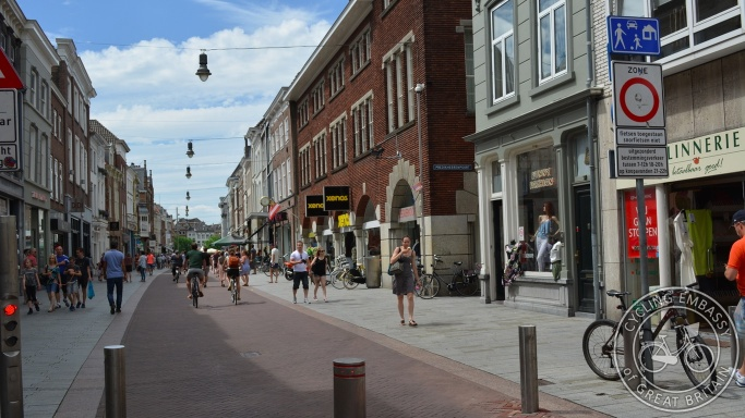 Motor traffic-free city centre of 's-Hertogenbosch, with cycling allowed