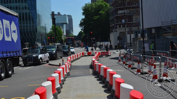Temporary cycleway diversion Blackfriars Road London