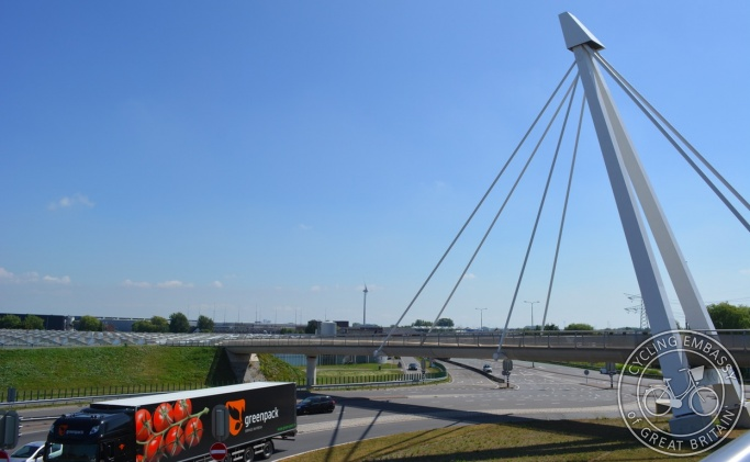 Cycle bridge over turbo roundabout, Naaldwijk, The Netherlands