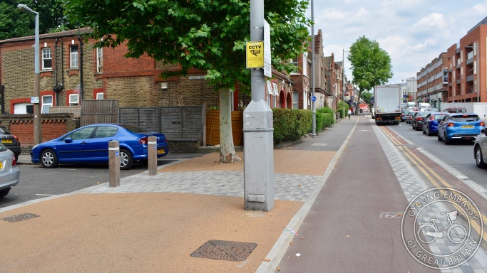 Protected cycleway with filtered side road, Waltham Forest, London, England