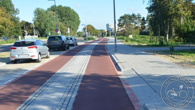 Cycle street with transition to protected cycleway, Hoek van Holland, The Netherlands