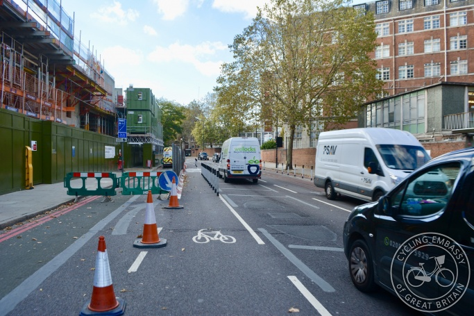 Temporary protected cycleway during construction work, Lambeth Palace Road, London
