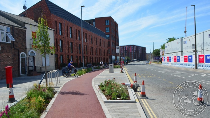 Protected cycleway and bus stop bypass, Oldfield Road, Salford, Greater Manchester