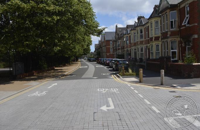 Cycle street, Taff Embankment, Cardiff, Wales