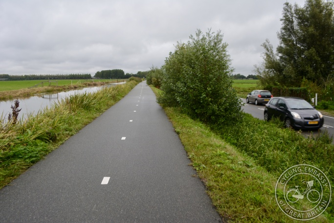 Cycle path beside main road, Leiden, NL