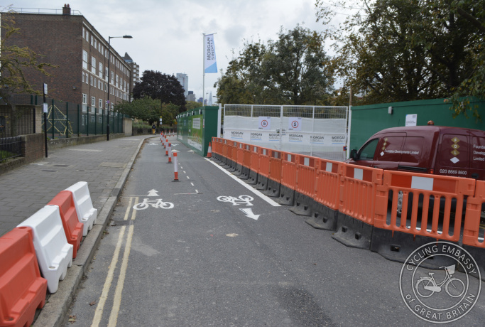 A filtered street with cycle access retained during construction work in Hackney, London