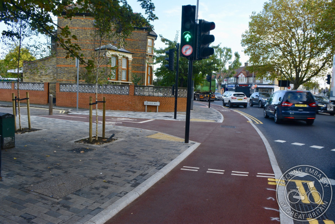 Protected cycleway and filtered side road, Waltham Forest, London