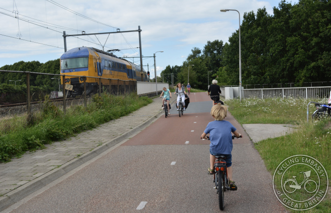 Cycle path running parallel to railway line, Zwolle, The Netherlands