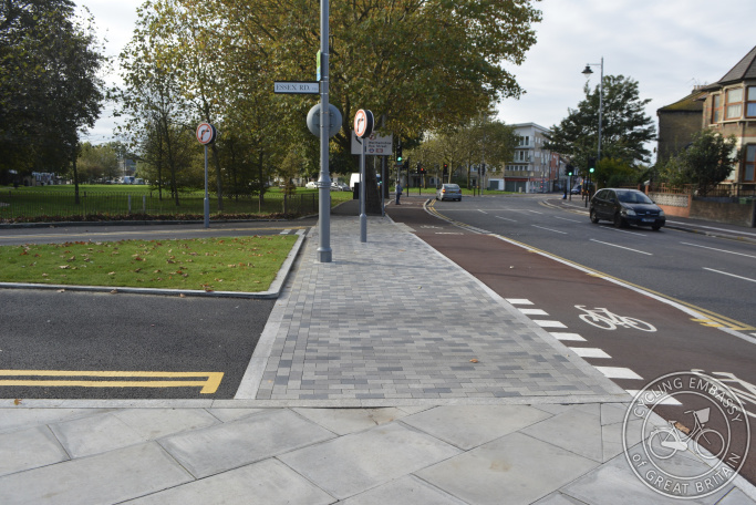 Cycleway with continuous footway, Waltham Forest, London