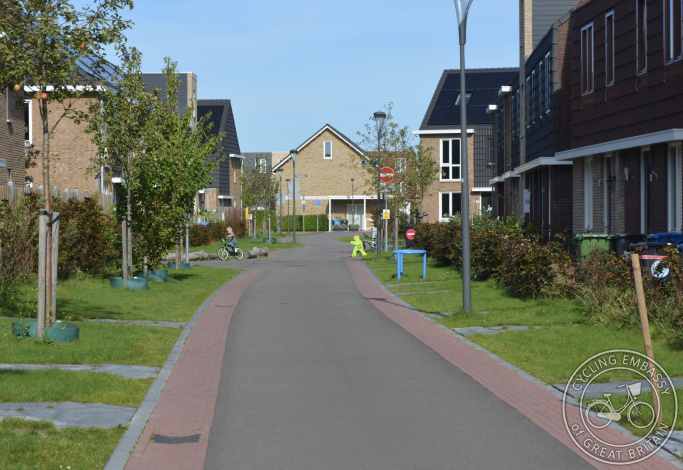 Residential street with no car parking, Delft, The Netherlands