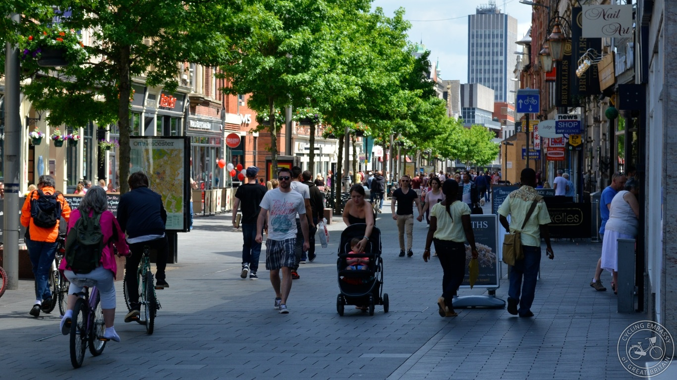 Cycling pedestrianised streets Leicester