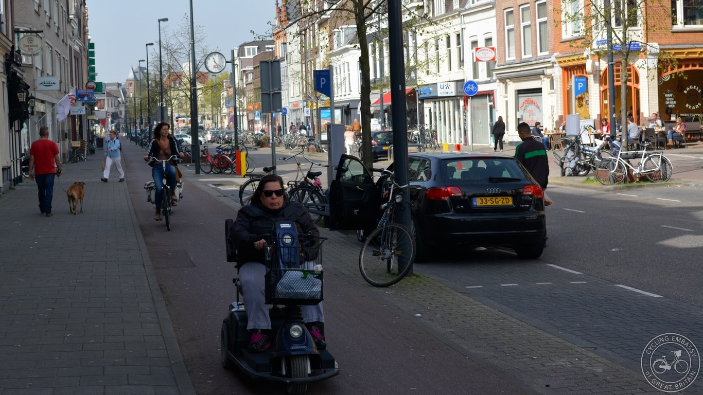 Mobility scooter on cycleway, Utrecht