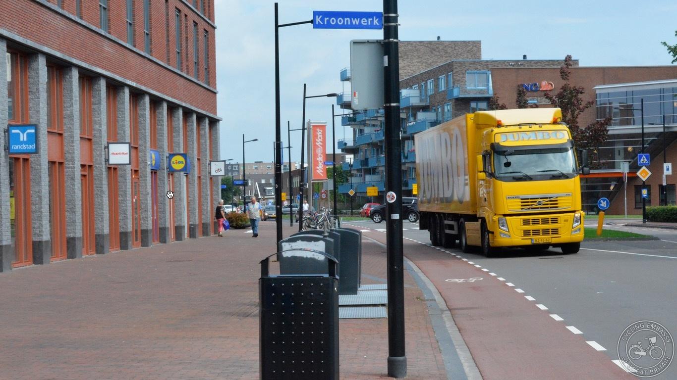 Cycle lane wide footway Assen