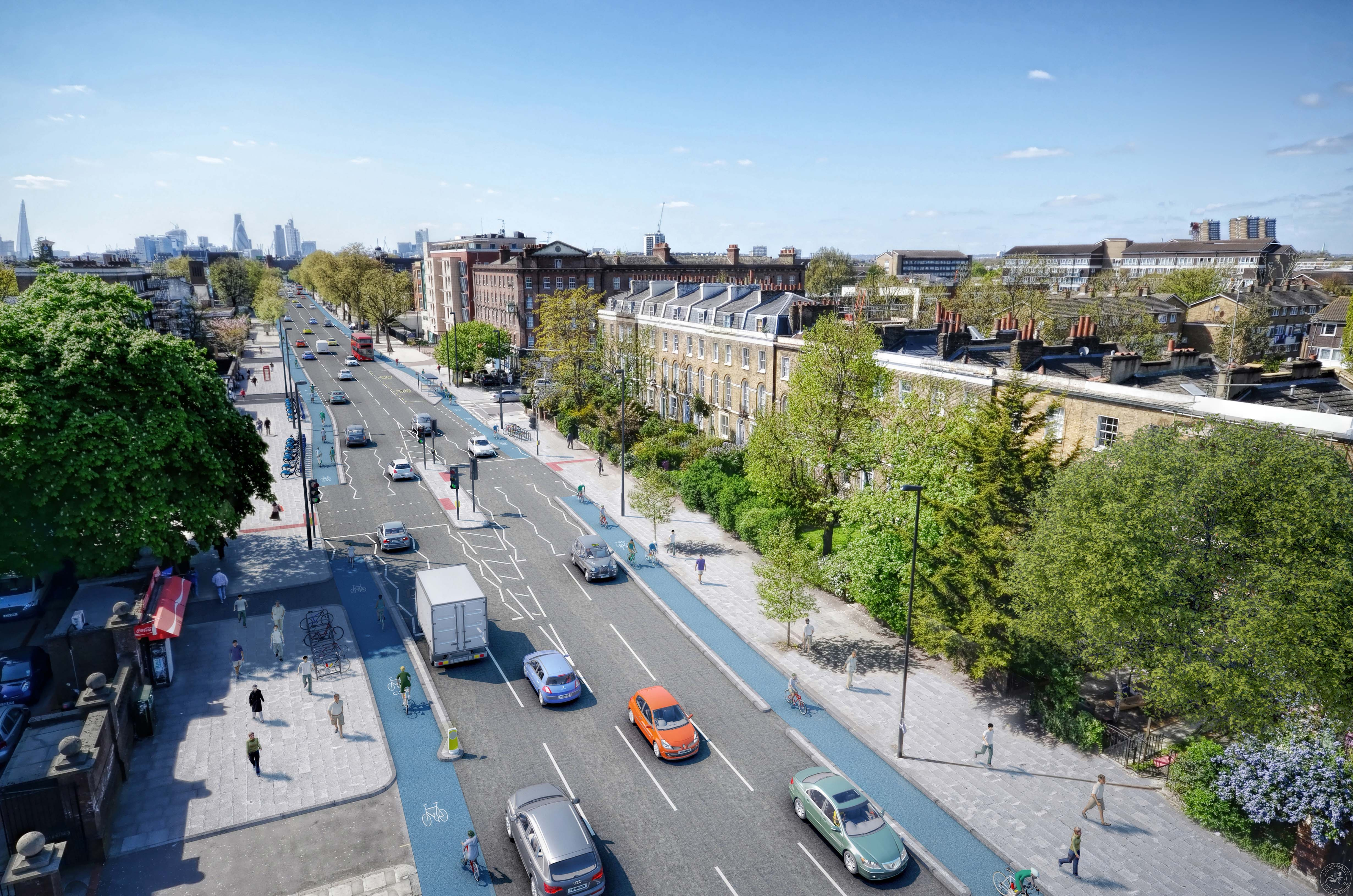 Visualisation of proposed segregated cycle tracks on Bow RoadMornington Grove low_res.jpg