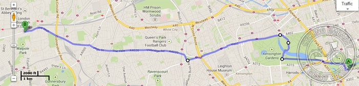 """Direct"" route from Prudential Ride London start point to Ealing"