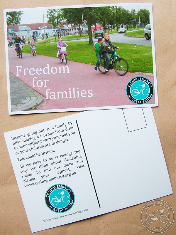 A photo of the Cycling Embassy's Freedom for Families postcards