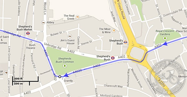 Map detail showing Shepherds Bush Green and Holland Park roundabout