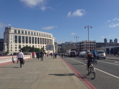 Blackfriars Bridge before with just a painted mandatory cycle lane