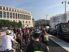 Queue at Blackfriars Bridge on separated cycletrack