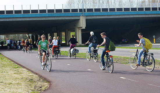 A wide two-way cycleway in the Netherlands, with dozens of peopel riding along it. It passes comfortably under a road bridge in the middle distance.